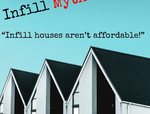 "Infill Mythbusting - ""Infill houses aren't affordable!"" written in the style of the Discovery Channel's MythBusters show"